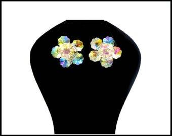 Aurora Borealis Crystal Earrings, AB Crystal Flowers, AB Crystal Earrings, Crystal Rivoli, Flower Girl Earrings, Daytime Bling, Gift For Her