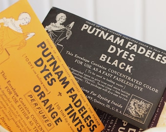 Vintage Halloween Craft Supply PUTNAM FABRIC DYE Packets - Set of 3 - Black, Orange & Purple
