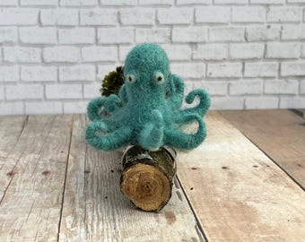 OOAK Handmade Needle Felted Octopus Ring, Needle Felted Jewelry, Needle Felted Gift Idea, Needle Felted Animal, Octopus Ring, Felted Octopus