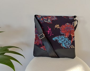 Tote: Black Canvas, Leather and Floral