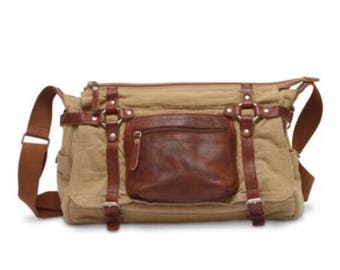 Messenger Crossbody Leather Cotton/canvas Bag