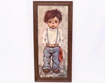 vintage ALVARO big eye boy print // wood frame // retro mid century wall art // 60's shabby kitsch decor