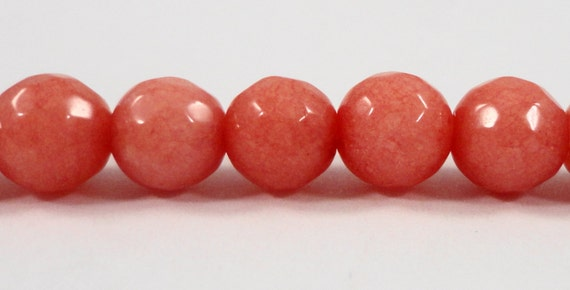 Pink Jade Beads 8mm Round Faceted Dyed Pink Gemstone Beads, Pink Stone Beads, Mountain Jade Beads on a 7 1/4 Inch Strand with 23 Beads