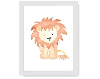 Baby Lion Nursery Art. Nursery Print Gender Neutral. Nursery Illustration. Playroom Decor. Lion Art Work