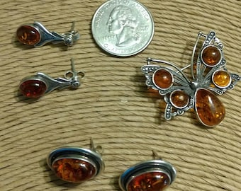 Vintage Jewelry Lot Polish Sterling Silver and Amber Earrings and Butterfly Brooch/Pin