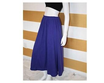 """SALE (20% off) Vintage 90s Skirt // Purple // High Waist // Full // Cotton // Midi // Elastic Waist // M // W 27-40"""""""