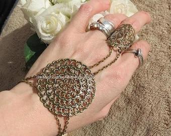 Bronze slave bracelet, ring bracelet, slave jewelry, finger bracelet, slave bracelet ring, hand chain, hand jewelry, body jewelry, filigree