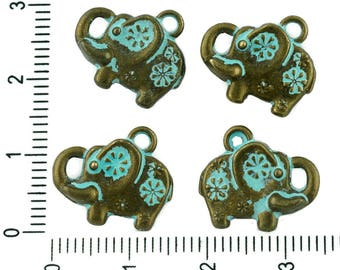 8pcs Czech Turquoise Blue Patina Antique Bronze Tone Elephant Animal Charms Pendant Bohemian Two-sided Metal Findings 15mm X 13mm