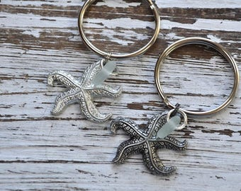 set of two starfish and sea glass keychain, starfish keychain gift, his and hers starfish, beachcomber gift, sea star, ocean inspired gift