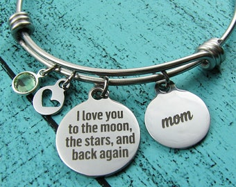 Mom gift, Mothers Day gift for Mom bracelet, wedding gift from son groom bride, I love you to the moon, Mom birthday gift from daughter
