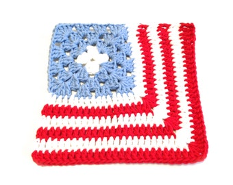 Patriotic Red, White, And Light Blue Crocheted Square Dish Cloth