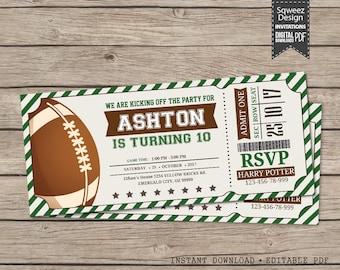 American Football Ticket Invitation, Football Invitation, Football Birthday Invitation Party  - Instant Download Editable PDF