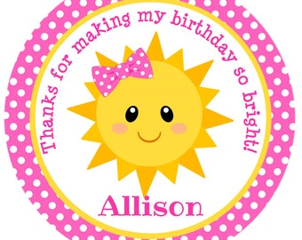 You Are My Sunshine Favor Tags-Sunshine Birthday Party-You Are My Sunshine Stickers-Set of 12