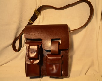 Vintage 1980's Brown Leather Handbag - Shoulder Bag