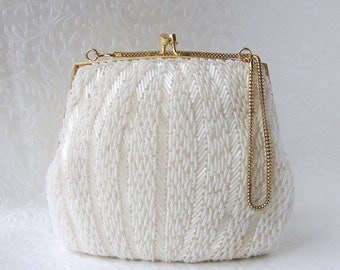 MAGID White Beaded Purse Vintage Wedding Handbag Formal Evening Bag Frosted Glass Bugle Beads Bridal Clutch Chain Strap Gold MOG MOB Prom