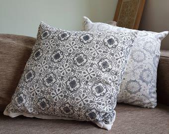 Grey Moroccan cushion cover handprinted