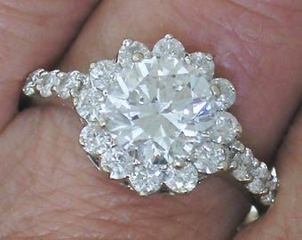1.75ct Diamond ENGAGEMENT Ring~1.75ct Halo Diamond Engagement Ring, 18k W Gold