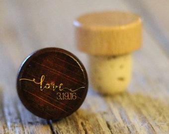 BEST PRICE ** Lot of Personalized Custom Wine Stopper, Laser Engraved Cork Bottle Topper, Reusable Rustic Wedding Favor --WS-dg-LoveDate