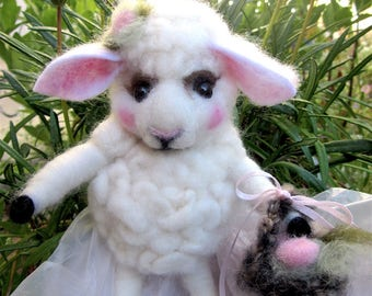 Sheep Doll and Flowers; Needle Felted/ One of a Kind,  Heirloom Collectible/ Charlotte the Sheep