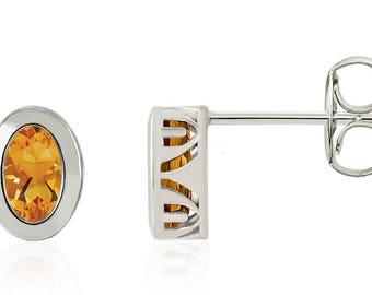 14K Citrine Earrings - 14K White Gold Bezel-Set Genuine Sunny Citrine Oval Gemstone Stud Earrings - Gift for Her - November Birthstone
