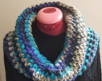 Cowl, Infinity Scarf, Crochet Scarf, Handmade Scarf, Gift for Her, Neck Warmer, Chunky Cowl - Navy Blue and Gray
