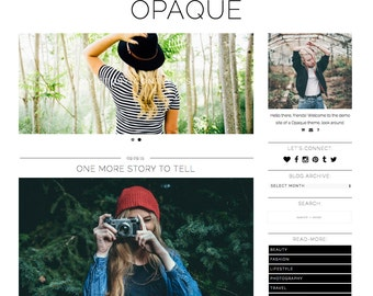 "Responsive Wordpress Theme ""Opaque"" //  Photography Slider Instant Digital Download Premade Blog Theme Design"