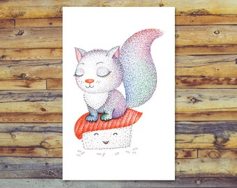 Printable Blank Card, Cat Card Digital Download, Sushi Kitten Art Instant Download, All Occasion Card, Digital Printable Card, Cute Cat