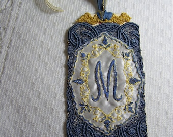Monogrammed applique tag, blue and gold tag, Letter M