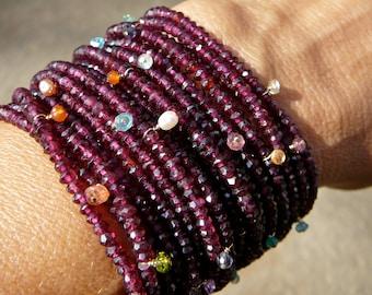Garnet Bracelet,Rhodolite Garnet Jewelry,Multi Strand Garnet Jewelry,Multi Color Gemstone Bracelet,Gemstone Bracelet,Rainbow Color Gemstones