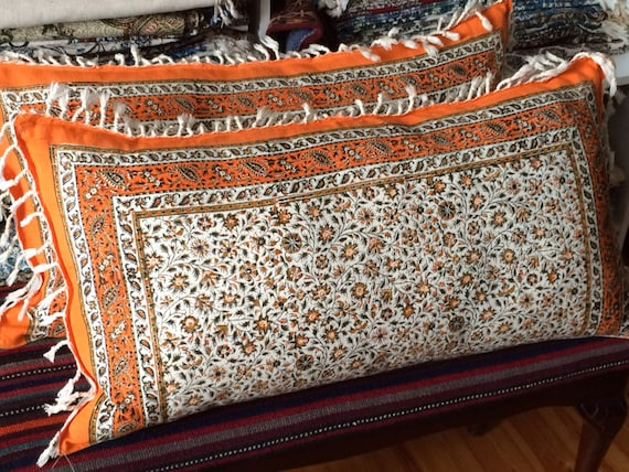 Set of two handmade orange tapestry pillow cover, floral design in calico fabric and irish linen 16 x 30 inches