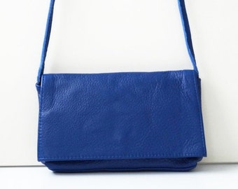 "Leather Handbag ""Noomi"" in blue, genuine leather. small shoulder bag"