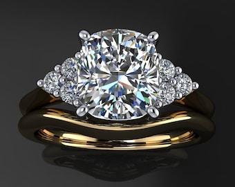 madison wedding set – 2 carat cushion cut ZAYA moissanite engagement ring, matching wedding band