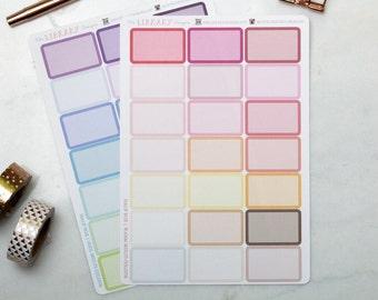 21 Half Box multi colour Planner Stickers perfect for Erin Condren, Inkwell Press, Happy Planner