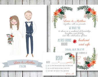 Custom Illustrated Wedding Invitation with RSVP card