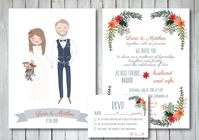 Illustrated Wedding Invitations: Custom Illustrated Wedding Invitation With RSVP Card