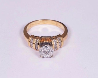 18K Yellow Gold Ring with Four 1/4ct. Diamonds and Diamond Chips, size 5.75