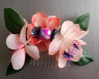 Beautiful flowers and beaded candy hair bow