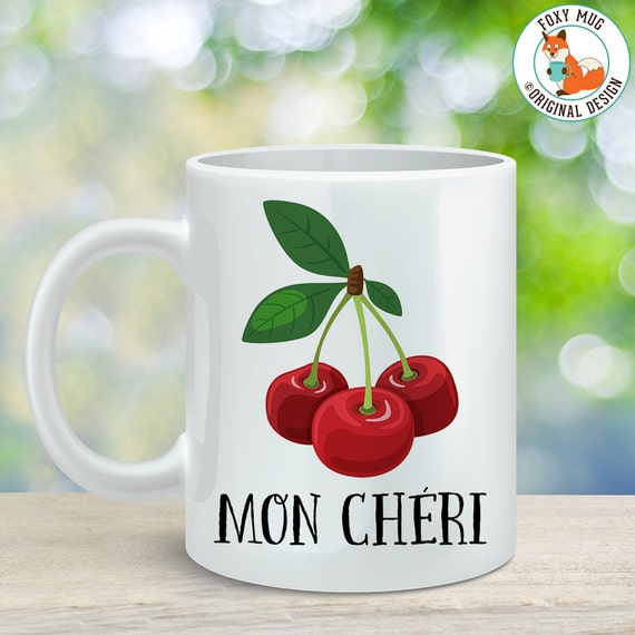 Coffee Mug Mon Cheri Cherry Coffee Cup - Great Gift for Vegan or Vegetarian - My Darling Mug