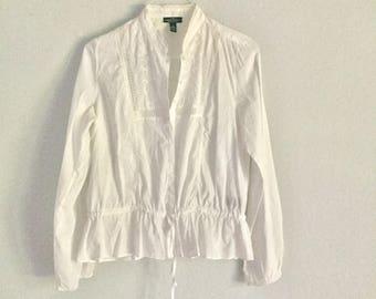 Vintage Ralph Lauren top blouse white shirt cotton size m or l outerwear top peasant style embroidered long sleeve renaissance front peasant