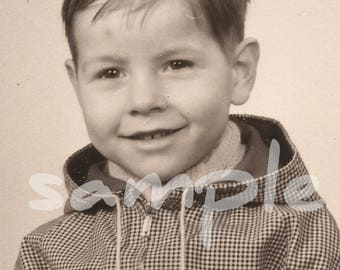 Vintage smiling boy in checkered hoody (Digital Download)