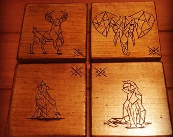 Pyrography Coasters with Geometric Animals