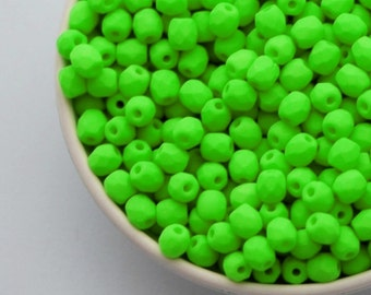3mm Neon Bright Green (50pcs) Small Czech Fire Polished UV Active Neon Glass Beads