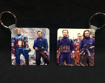 Stucky - Steve Rogers & Bucky Barnes - Then And Now 2-Sided Keychain