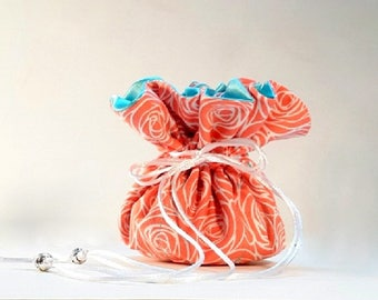 Jewelry Storage Bag, Coral Drawstring Jewelry Pouch, Personalize with Color Options, Gift for Women