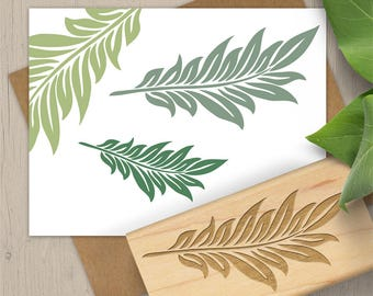 Decorative Leaf Rubber Stamp, Tropical Leaf Stamp, Nature Stamp, Foliage Rubber Stamp, Plant Stamp, Art Stamp 051
