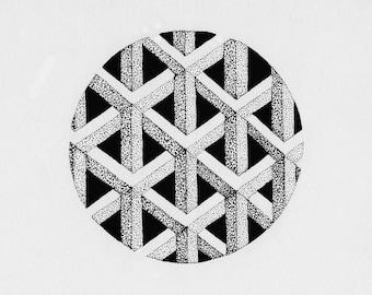 Optical Illusion Sphere illustration print