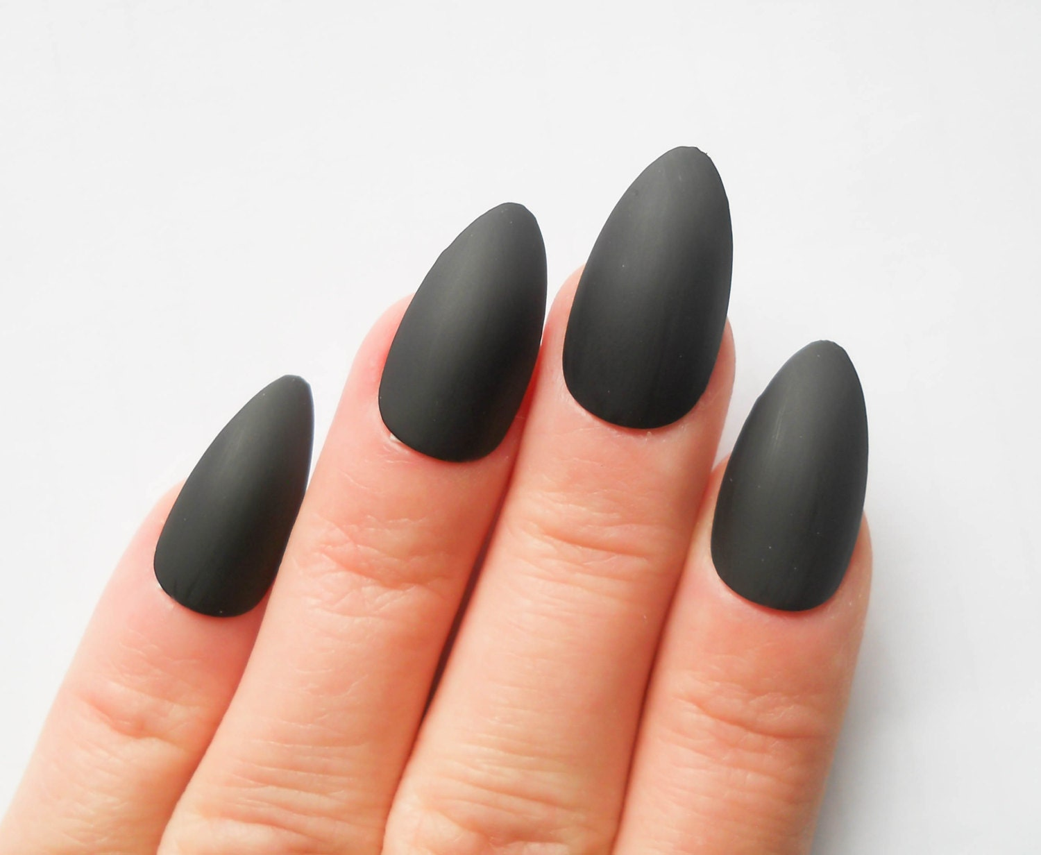 Matte Black Nails / Fake Nails / Stiletto Nails / Press on