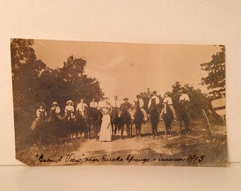 "ON SALE 1913 Eureka Springs Arkansas AR Early 1900's Photo Photograph Men and Women on Horseback Horses ""Grand View"""