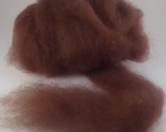 Rust Alpaca Roving Fiber Natural Red Brown Canadian Alpaca Spinning Fiber 4 ounces