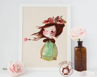 Madeline - Poster Nursery Decor - Baby Girl Decor - Girl and Flowers head - Nature Print- Whimsical, First Birthday, Baby Shower